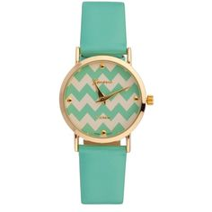 Chevelle Chevron Watch Mint ($15) ❤ liked on Polyvore featuring jewelry, watches, bracelets, accessories, bracelet jewelry, mint jewelry, mint green jewelry, mint green watches and chevron bracelet
