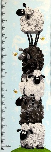 too bad we still need a growth chart for jake.. Lewe the Ewe Fabric SB Flowers Bees Sheep Lambs Growth Chart Nursery Whimsy. $10.00, via Etsy.
