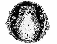 Owl illustration made for a logo. www.anjamulder.com