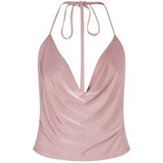 Boohoo Yasmin Slinky Halterneck Top (24 PEN) ❤ liked on Polyvore featuring tops, shirts, blusas, crop tops, off the shoulder shirts, cami crop top, pink crop top, halter-neck crop tops and halter crop tops