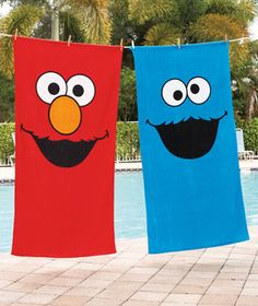 need these Elmo and Cookie Monster beach towels for this summer! Trevor would so want these!!
