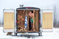 Mika Sivho's The Sauna Stoke that could be yours for . Daily Mail Perhaps the coolest sauna on wheels is this portable creation by craftsman Mika Sivho from Canada Spa Rooms, House Rooms, Sauna Portable, Wood Spa, Travel News, Glamping, Les Oeuvres, Hot Wheels, London