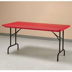 CORRELL Brightly Colored Folding Tables - Red by CORRELL. $242.00. CORRELL Brightly Colored Folding Tables add a spark of color to any decor. Virtually indestructible table top resists damage from practically anything including food, paint, battery acid, and gasoline. Molded from heavy-duty plastic resin, this top will not chip or crack, and if dented, will return to normal within 24 hours. Strong steel frame folds down for easy storage. Choose standard or adjustable-height ...