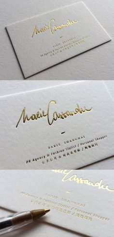 Beautiful hand drawn typography and illustration on a minimalist stylish gold foil on white calligraphy business card design colourmoves