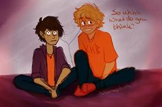 will solace and nico di angelo - Google Search< omg what are they listening to Nico looks horrified<< any guesses? What are they listening to? Comment!!!
