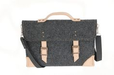 Felt Laptop 13 inch sleeve, macbook pro, macbook air 13 inch sleeve, case, bag with leather strap buckle and belt sholder