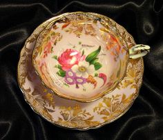 Paragon Cabinet Tea Cup & Saucer ~ Mixed Bouquet & Gold on Powder Pink