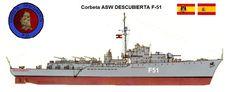 Perfiles navales.Corbeta ASW DESCUBIERTA F-51 1954.Fue el único de los buques de su clase que no se modernizó con la ayuda procedente de los Estados Unidos debido a los problemas que sufrió en su construcción