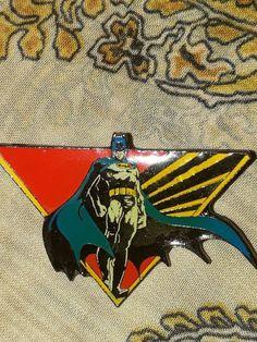 Vintage 1964 Batman Pin Badge DC Comics Caped Batman in Blue with Red