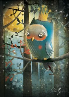 Whimsical owl illustration/artwork by Hilde Groven