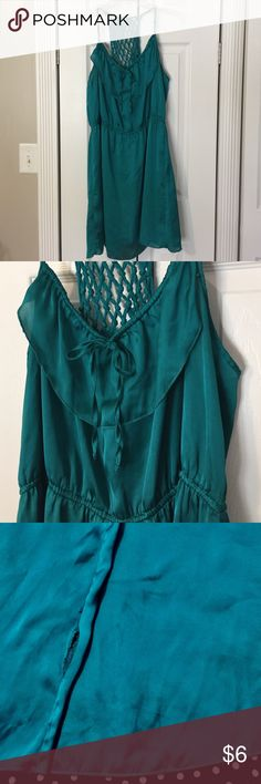 """Teal Sundress has adjustable straps and neckline, gathered waist --- Note in photo 3 the issues with Dress, on  right side seam 2"""" from bottom is a seam separation and an unknown stain on front, both of these issues were not disclosed when I bought dress previously. Xhilaration Dresses Mini"""
