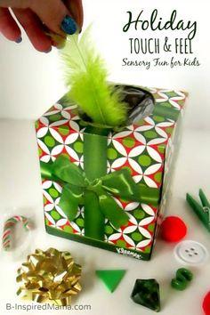 Sensory Fun with a DIY Holiday Touch and Feel Box at B-Inspired Mama!  (So easy - you just use a holiday tissue box!) #sensory #kids #kbn #kbnmoms #playmatters #preschool #sensoryplay #sensoryactivities #toddler #binspiredmama