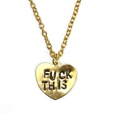 gold heart fuck this necklace