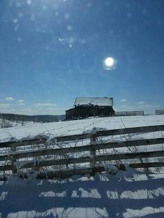 Beautiful barn in winter light