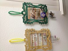 DIY Earring hangers! a little bit of paint and basic frames from Michael's--less than $5 total.
