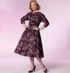 New vintage-style sewing pattern from Retro Butterick: 1960's dress pattern with dolman sleeves and full or slim skirt variations. B6242.