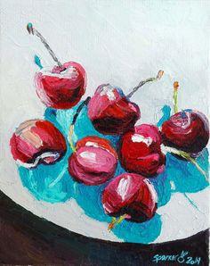 Original Cherries Fruit Still Life Oil Painting 8x10