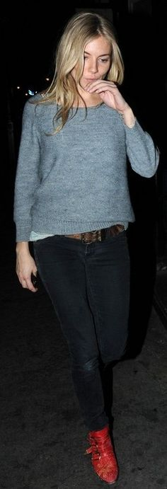 Who made Sienna Miller's gray sweater and red boots that she wore in London on March 19, 2011?