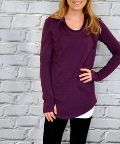 Love this Plum Thumb Hole Scoop Neck Hoodie on #zulily! #zulilyfinds