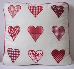 Beautiful Handmade Cushion with Red Love Heart Applique Design Handmade Cushions, Diy Pillows, Throw Pillows, Diy Projects To Try, Sewing Projects, Sewing Ideas, Cushion Inspiration, Cushion Ideas, Heart Cushion
