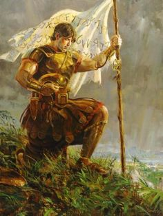 Captain Moroni kneeling in prayer after writing the Title of Liberty, asking God for help in defending freedom against enemies; both Lamanite and apostate Nephite. by Walter Rane