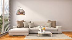 Ilustração: interior with brown sofa. 3d illustration