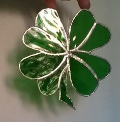 Stained Glass Emerald Green Shamrock 4 Leaf Clover Irish