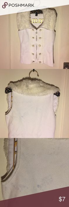 White House | Black Market white sweater vest Super cute with button & ribbon accents. Love the faux fur collar! There are some blue color transfer marks on back. Someone with better cleaning skills might be able to get out? White House Black Market Jackets & Coats Vests