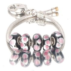 Charms Beads - 5  pcs set pink petal black color assorted bundle fit murano glass beads charms bracelets all brands Image.