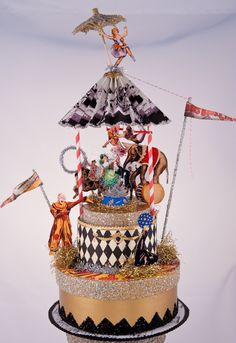 Vintage Circus Wedding Cake Topper by OvertheTopStudios on Etsy, Custom Order Circus Vintage, Vintage Carnival, Carnival Cakes, Carnival Costumes, Carnival Parties, Halloween Carnival, Wedding Cake Toppers, Wedding Cakes, Circus Party Decorations