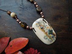 Mammoth Ivory pendant with lampwork and jasper by RavensIvoryArt, $110.00