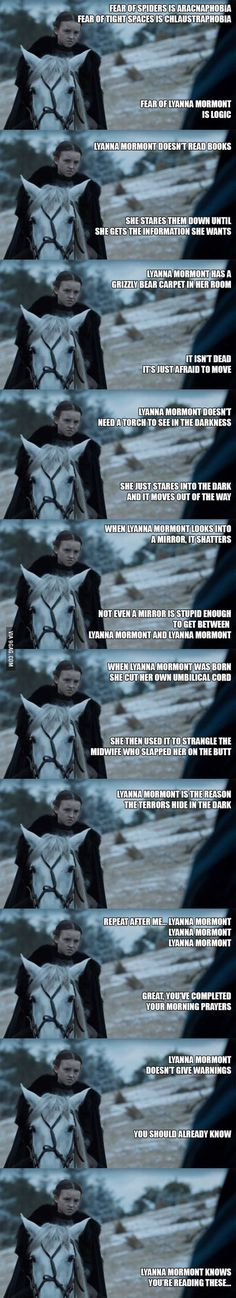 Lyanna Mormont thinks Chuck Norris is a pussy