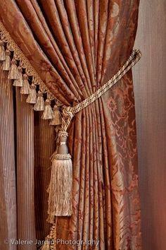 Paire de petits rideaux tassel tiebacks or rouge idéal pour petites fenêtres embrasses