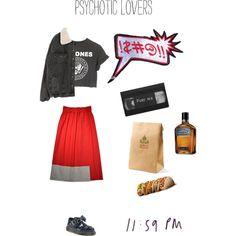 """Psychotic lovers"" by monigalan on Polyvore #midiskirts #Tshirt #jeanjackets #xoanyu #loser"
