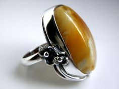 Baltic amber silver ring by MartSilver on Etsy, $65.00