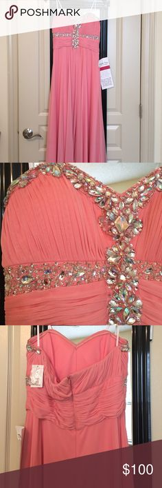 Full length pink/peach formal/prom dress Never worn! Perfect condition. Pink/peach dress. Full-length. Unaltered. Xscape Dresses Prom