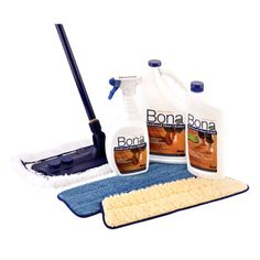 """For mopping, the floor installers suggested the Bona.  I love it too! Mine has the attached piece for bottle on front and a squeeze trigger on top.  Just spray and mop, then throw removable pad in washer as needed.""  Bona Ultimate Hardwood Floor Care System - Target"