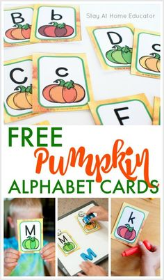 FREE Pumpkin Alphabet Cards and literacy center ideas for preschool and kindergarten! You can use these simple cards in your classroom or at home to create engaging games for phonics practice! #phonics #prek #kindergarten #literacycenters #pumpkins