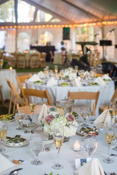 Tented Reception With String Lights