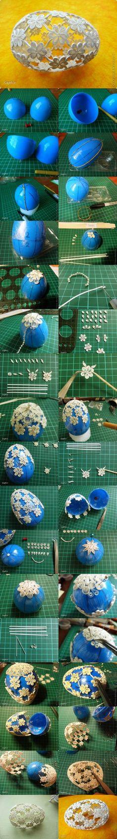 Most találtam rá erre a lélegzetelállító húsvéti tojásra. Quilling technikával készült  aprólékos  finom  türelmet ig...