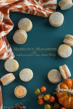 These make such a perfect little sweet nibble for a fall get-together. Hazelnut macarons with maple pumpkin cream cheese filling-- amazing flavor! Macarons, Macaron Cookies, Macaron Recipe, Best Dessert Recipes, Delicious Desserts, Yummy Treats, Pumpkin Recipes, Fall Recipes, Baking Recipes