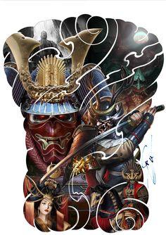 Full Back Tattoos, Samurai Tattoo, Lunges, Concept Art, Asian, Character, Tatuajes, Conceptual Art, Lettering