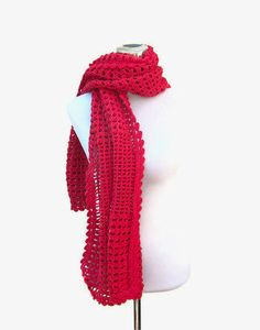 Crochet lace shawl stole wrap terracotta red merino lacy by jarg0n, £55.00