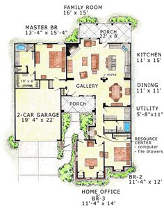 First Floor Plan of Florida Traditional House Plan 56511