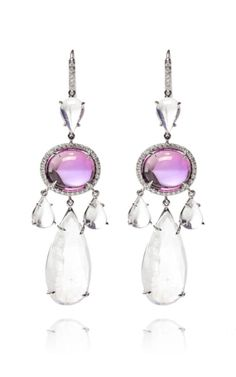 Amethyst Cabochon, Moonstone And Diamond Earrings by Nina Runsdorf - Moda Operandi