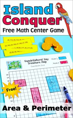 Kids love playing Island Conquer, a free pirate-themed math center game for practicing area and perimeter. Click over to Laura Candler's blog to download this freebie now! Math For Kids, Lessons For Kids, Spy Kids, Fun Math Activities, Math Games, Area Games, Guided Math Groups, Teaching Math, Teaching Resources