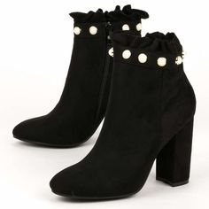 Ankle boots με πέρλες
