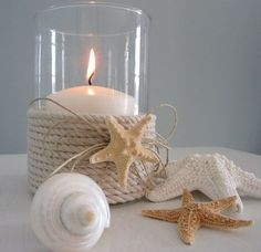 DIY with Candle Impressions flameless candles. With our candles, you don't need to use a candle holder for this DIY! ** Use flameless candles instead! Seashell Crafts, Beach Crafts, Diy Crafts, Deco Marine, Beach House Decor, Creative Home, Beach Themes, Coastal Decor, Sea Shells