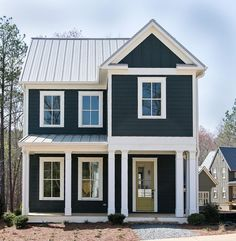 Exterior paint colors blue cream colored exterior houses navy house exterior on cedar shake - Exterior house colors blue . Exterior Color Schemes, Exterior Paint Colors For House, Paint Colors For Home, Exterior Design, Paint Colours, Exterior Trim, Exterior Windows, Wall Exterior, Exterior Paint Ideas