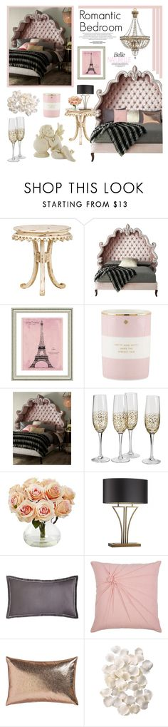 """""""Romantic Bedroom"""" by lgb321 ❤ liked on Polyvore featuring interior, interiors, interior design, home, home decor, interior decorating, Haute House, Vintage Print Gallery, Kate Spade and Nearly Natural"""